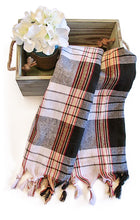Load image into Gallery viewer, Authentic Turkish Towel Wrap-Tartan (Black)