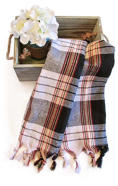 Authentic Turkish Towel Wrap-Tartan (Black)