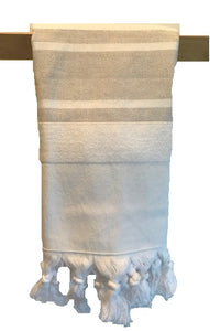 Hand Towel (Double sided weave)-WhiteLightBeige