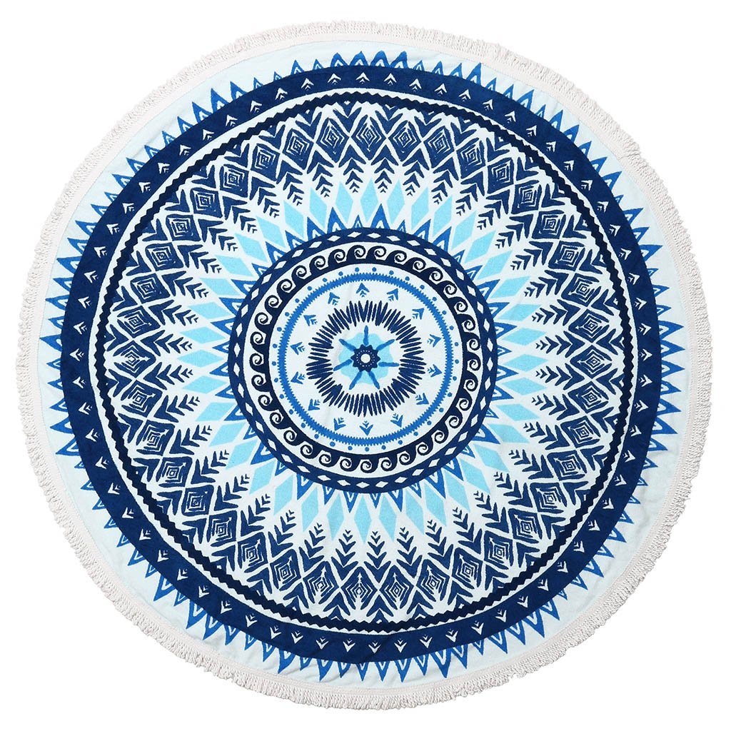 Round Towel-Terry-Blue
