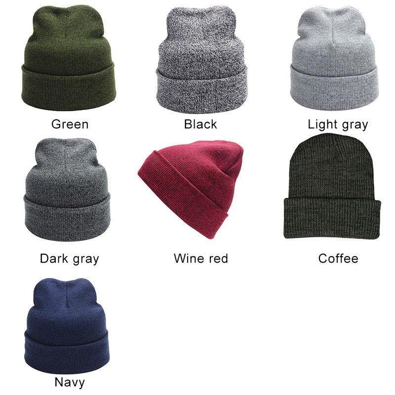 Men's Warm Solid Beanie Hat
