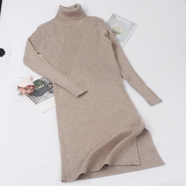 Turtleneck Women Sweater Dress Mid-Calf