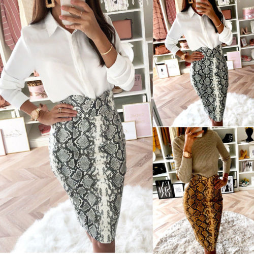 Women Faux High Waist Snake Print Bodycon Skirt