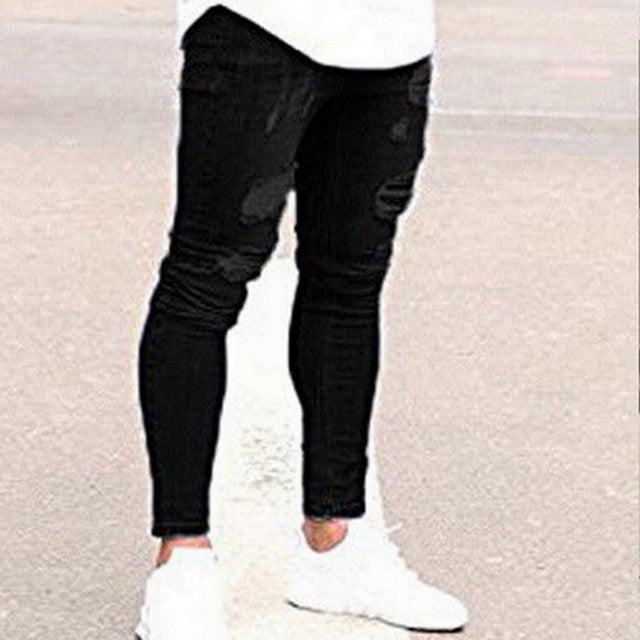 Mens Slim Solid Ripped Jeans