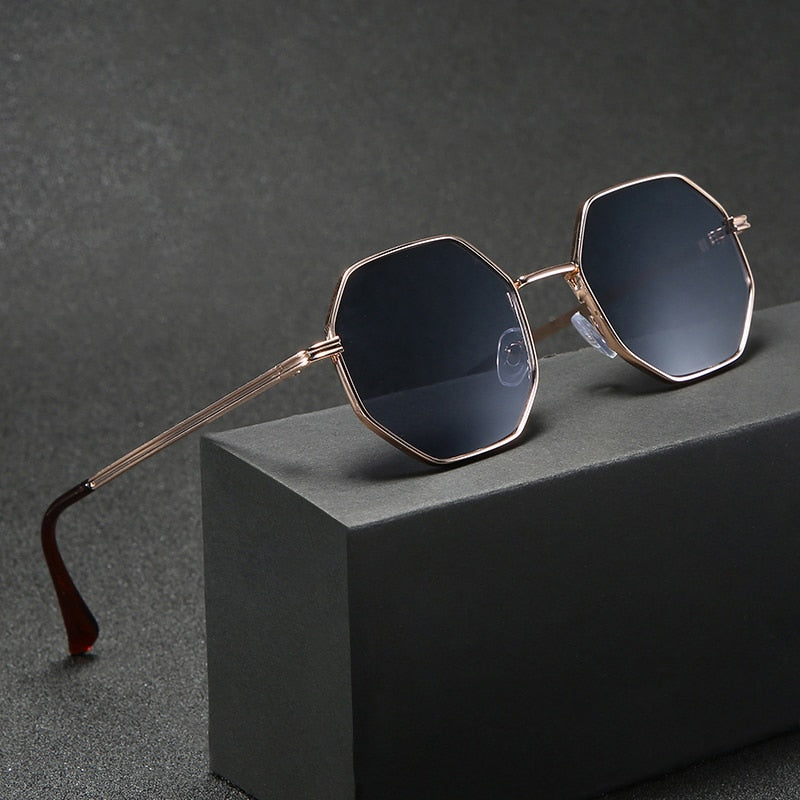 Men Vintage Octagon Metal Sunglasses