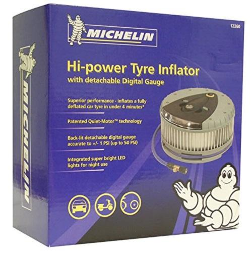 Wihte LEDs 12260 1x Genuine Michelin Car Tyre Inflator With Detachable Gauge