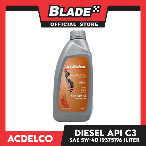 ACDelco Advance Fully Synthetic Diesel ACEA C3 SAE 5W-40 Supreme Plus 19375196 1Liter