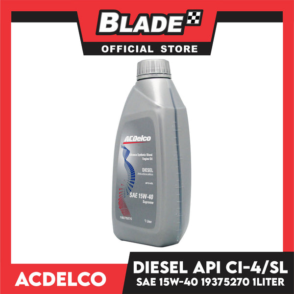 ACDelco Advance Synthetic Blend Engine Oil Diesel API CI-4/SL SAE 15W-40 Supreme 19375270 1Liter