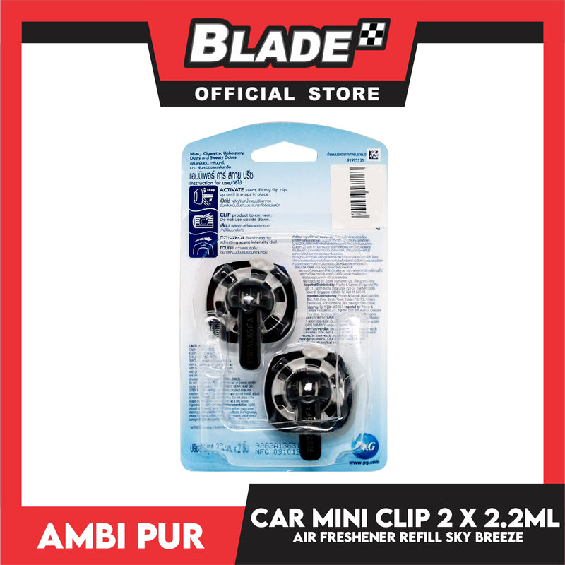 AmbiPur Car Air Freshener Mini Clip 2.2ml Sky Breeze (Set of 2)
