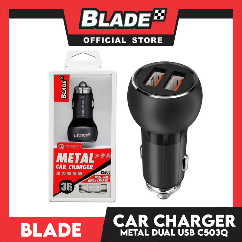 Blade Car Charger Metal Dual USB C503Q for Android and iOS- Samsung, Huawei, Xiaomi, Oppo, iPhone & iPad Series