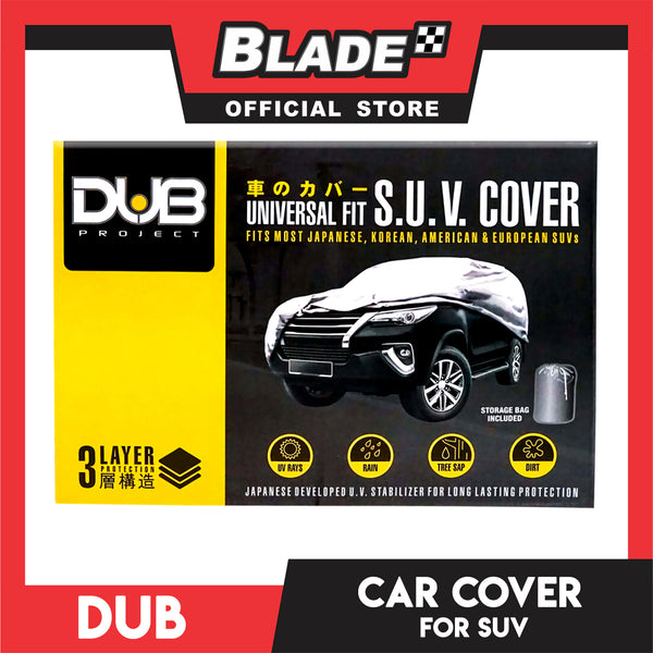 Dub Car Cover Water Resistant SUV Grey, Universal Fit, Perfect for Expedition, Mitusbishi Pajero, Montero, Toyota Fortuner, Land Cruiser, Nissan Terrano and most SUVs