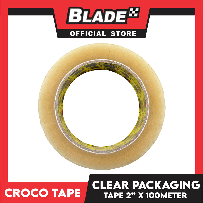 "Croco Tape Clear Packaging Tape 2"" x 100M (Clear) for Strong, Secure & Sticky Seal For Parcels & Boxes. Labeling Tape For Organization"