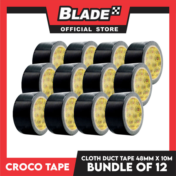 Croco Tape Cloth Duct Tape 48mm x 10m Bundle of 12 (Black)