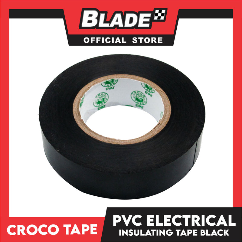Croco Tape Flame Retardant PVC Electrical Insulating Tape 19mm x 16m Bundle of 12 (Black)