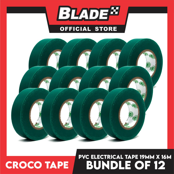 Croco Tape Flame Retardant PVC Electrical Insulating Tape 19mm x 16m Bundle of 12 (Green)