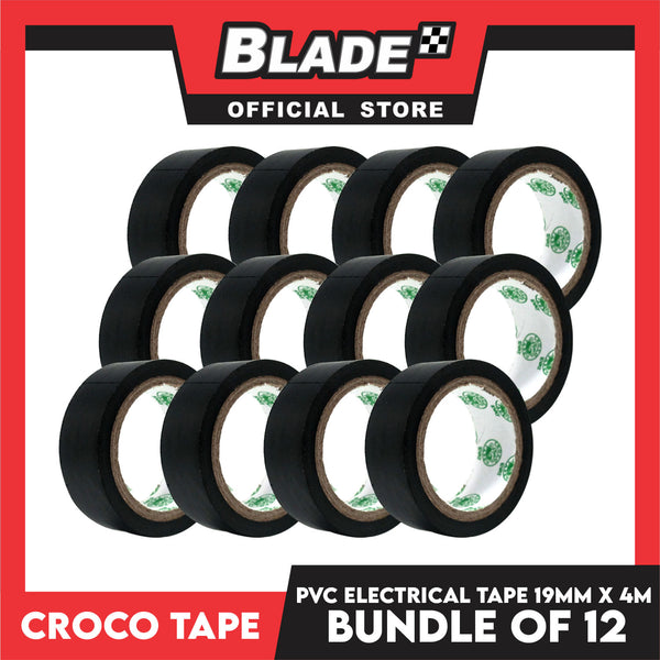 Croco Tape Flame Retardant PVC Electrical Insulating Tape 19mm x 4m Bundle of 12 (Black)