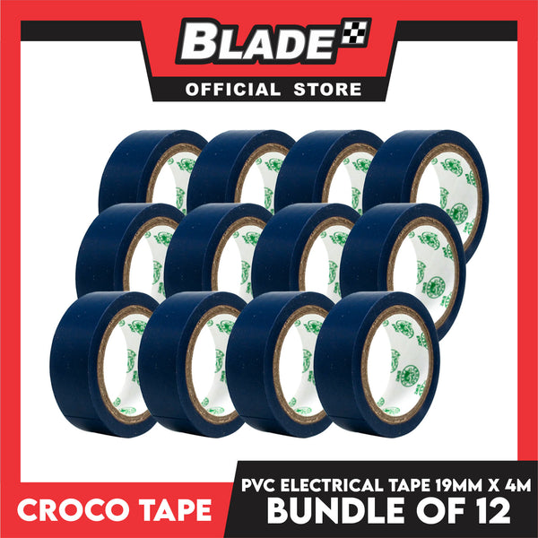 Croco Tape Flame Retardant PVC Electrical Insulating Tape 19mm x 4m Bundle of 12 (Blue)