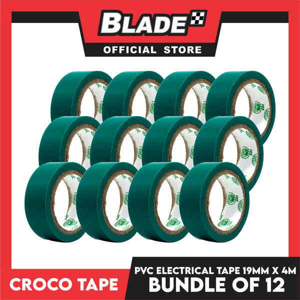 Croco Tape Flame Retardant PVC Electrical Insulating Tape 19mm x 4m Bundle of 12 (Green)
