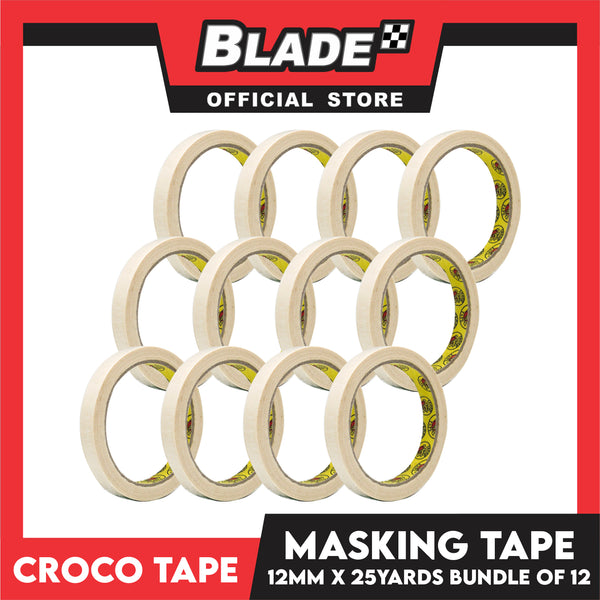 Croco Tape Masking Tape 12mm x 25yards (Beige) Bundle of 12- General Purpose for Home and Office use