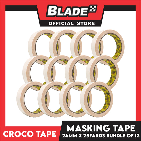 Croco Tape Masking Tape 24mm x 25yards (Beige) Bundle of 12- General Purpose for Home and Office use