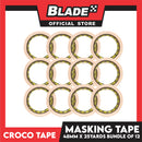 Croco Tape Masking Tape 48mm x 25yards (Beige) Bundle of 12 General Purpose for Home and Office use
