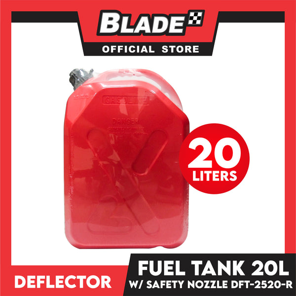Deflector Fuel Tank with Anti-Child and Safety Nozzle DFT-2520-R 20L (Red) used for Gasoline, Diesel, Kerosene, Engine Oil