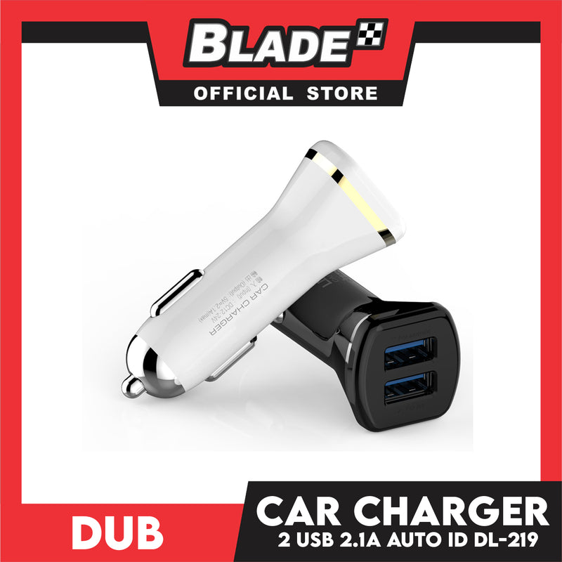 Dub Car Charger Dual USB 2.1A Auto-ID DL-219 (Black) for Android and iOS: Samsung, Huawei, Xiaomi, Oppo, iPhone Series & iPad Series
