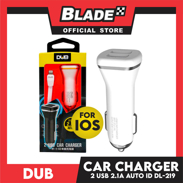 Dub Car Charger Dual USB 2.1A Auto-ID DL-219 (White) for Android and iOS: Samsung, Huawei, Xiaomi, Oppo, iPhone Deries & iPad Series