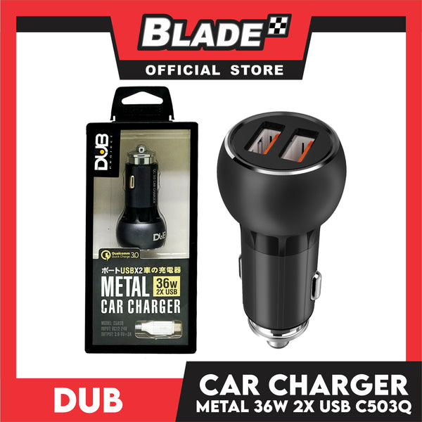 Dub Car Charger Metal USBx2 36W C503Q for iOS and Android Supports Samsung, Huawei, Xiaomi, Oppo, iPhone series, iPad Series