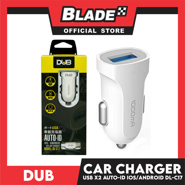 Dub Car Charger Single USB 5V 1A Auto-ID DL-C17 (White) for Android and iOS: Samsung, Huawei, Xiaomi, Oppo and iPhone Series & iPad Series