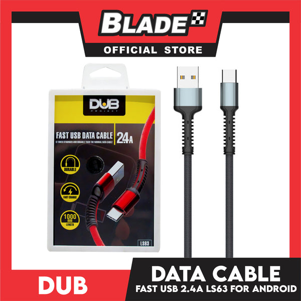 Dub Data Cable Fast USB 2.4A 1000mm LS63 (Grey) for Android for Samsung, Xiaomi, Huawei, Vivo, Oppo, LG & Lenovo