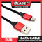 Dub Data Cable Fast USB Woven Design 2.4A LS391 1000mm (Red) for Android Support: Samsung, Xiaomi, Huawei, Vivo, Oppo, LG and Lenovomsung, Xiaomi, Huawei, Vivo, Oppo, LG, Lenovo