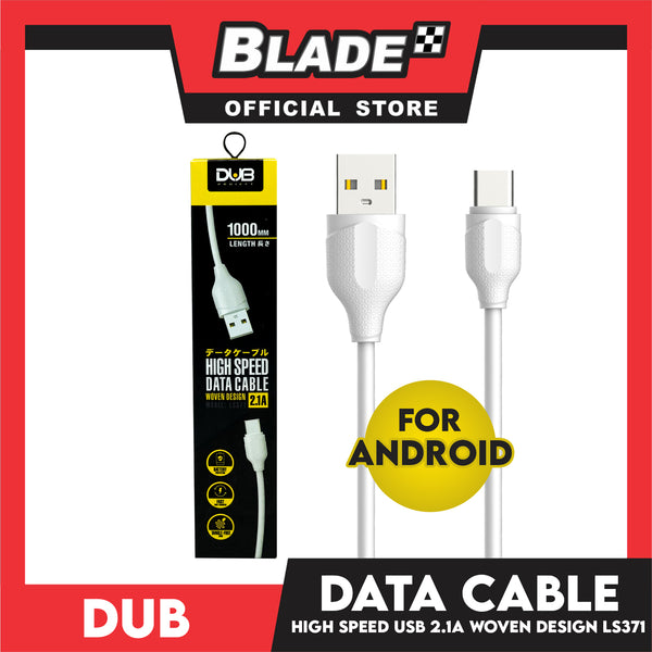 Dub Data Cable High Speed USB Woven Design 2.1A LS371 1000mm (White) for Android: Samsung, Xiaomi, Huawei, Vivo, Oppo, LG & Lenovo