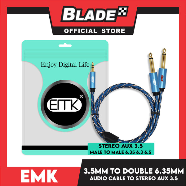 EMK 3.5mm to Dual 6.35mm Audio Cable- Stereo Aux 3.5 Male to Male 6.35, 6.3, 6.5 for iPhone, iPod, Computer Sound Cards, Mixer Audio Recorder, CD Players, Multimedia Speakers and Home Stereo Systems-6.6ft/2m