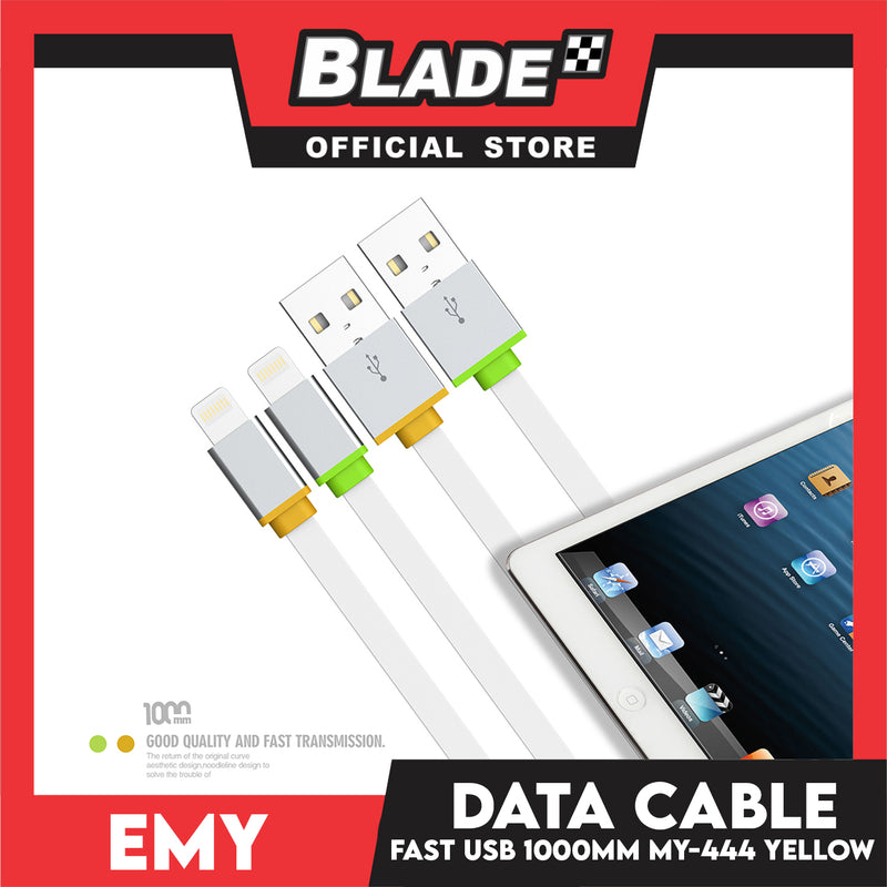 Emy Data Cable Fast USB 1000mm MY-444 (Yellow) for iOS: Iphone 5,5c,5s,6,6+,6s,6s,7,7+,8,X,XR,XS MAX,11)ipad,ipad mini 1,2 3 & 4, Ipad air and ipad 4