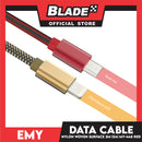 Emy Data Cable Nylon Woven Surface 2000mm MY-448 (Red) for Android- Samsung, Huawei, Xiaomi, Oppo, Vivo & Realmi