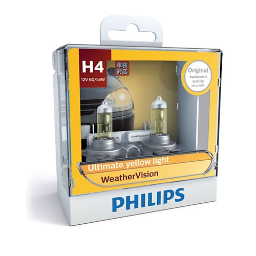 Philips WeatherVision Halogen 12342WV H4 12V 60/55W (Pair)