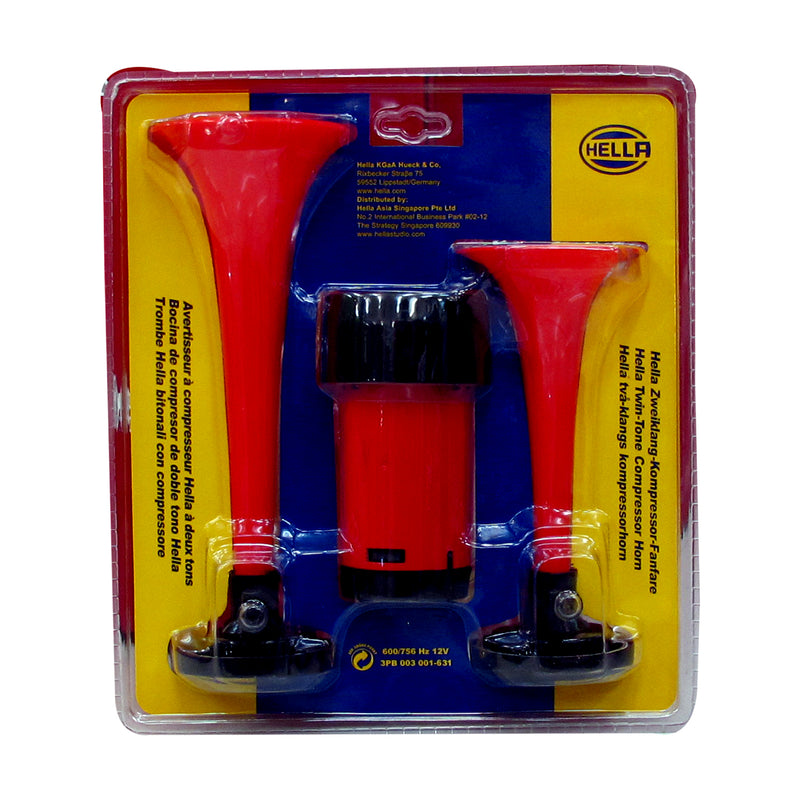Hella Twin-Tone Air Horn Kit (Red)