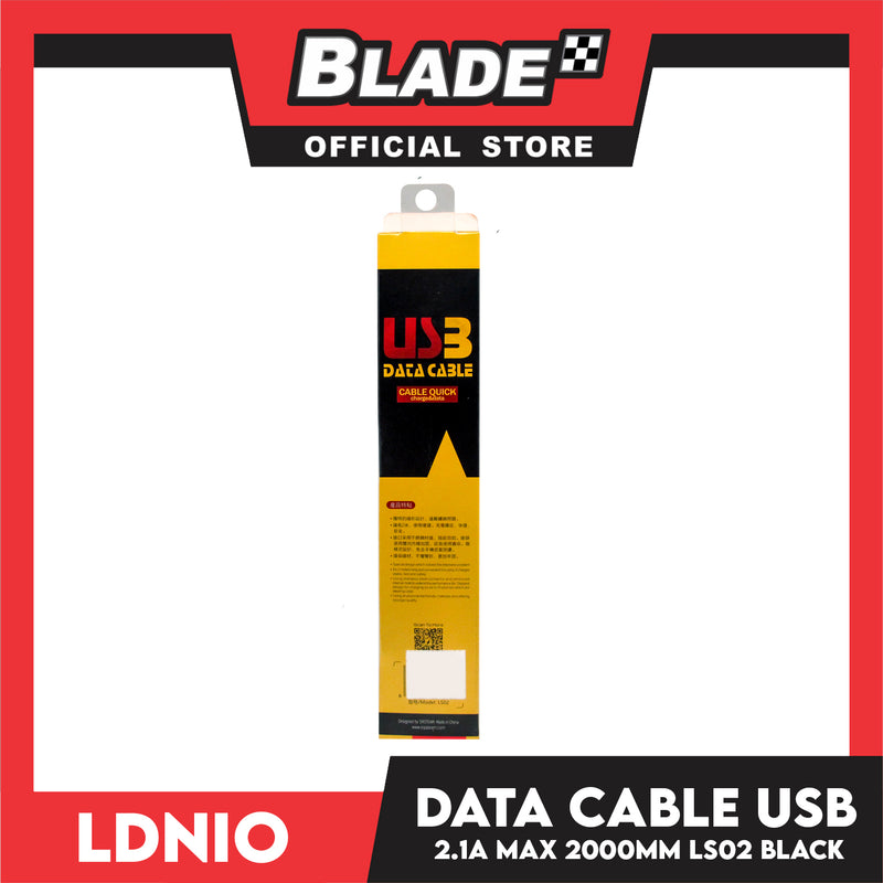 Ldnio Data Cable 2.1A Micro-USB 2000mm LS02 (Black) for Android: Samsung, Huawei, Xiaomi & Oppo