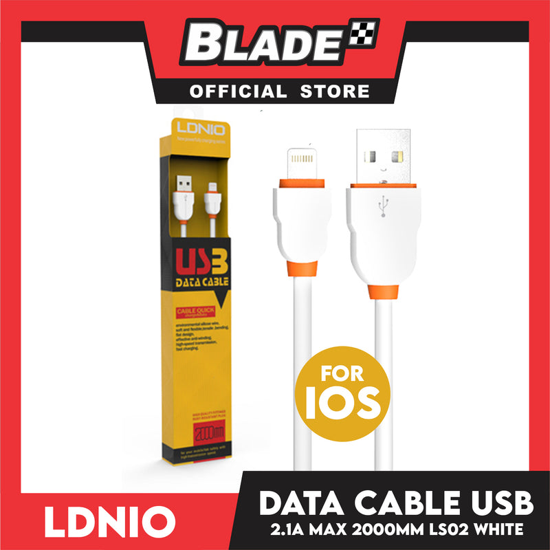 Ldnio Data Cable 2.1A Micro-USB 2000mm LS02 (White) for iPhone (5,5c,5s,6,6+,6s,6s,7,7+,8,X,XR,XS MAX,11), iPa, iPad Mini 1-4, iPad Air and iPad 4