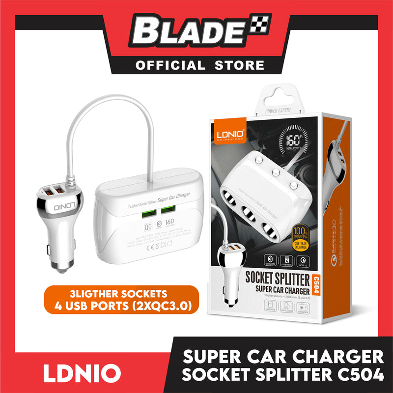 Ldnio Super Car Charger Socket Splitter C504 (White) with 3 Lighter Sockets and 4 USB Ports for Mobile Phones(Android & IOS), Recorder and Navigator