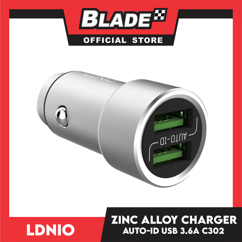 Ldnio Zinc Alloy Charger Auto-ID Dual USB 3.6A C302 for Android and iOS. Samsung, Huawei, Xiaomi, Oppo, iPhone series & iPad Series