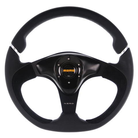 Momo Nero Steering Wheel Black Suede