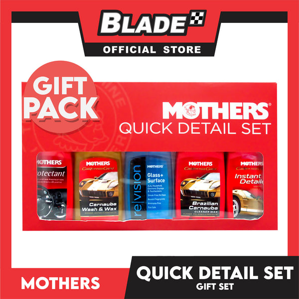 Mothers Quick Detail Set - Gift Set to Wash and Wax your car as well as Clean and Shine the Interior