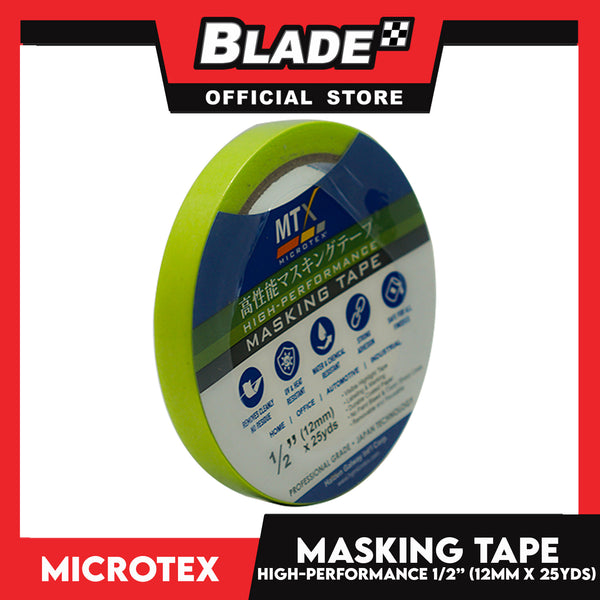 "Microtex Masking Tape 1/2"" (12mm) x 25yds High-Performance for Home, Office, Automotive & Industrial"