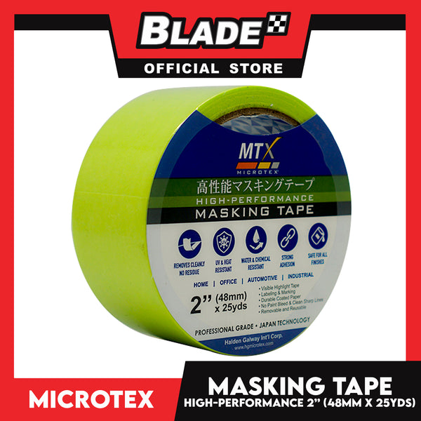 "Microtex Masking Tape 2"" (48mm) x 25yds High-Performance for Home, Office, Automotive & Industrial"