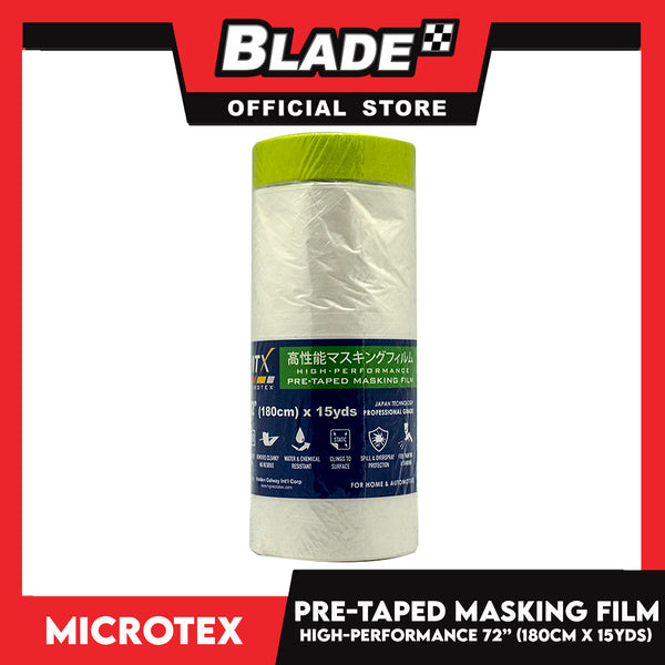 "Microtex Pre-Taped Masking Film 72"" (180cm) x 15yds High-Performance for Home & Automotive"