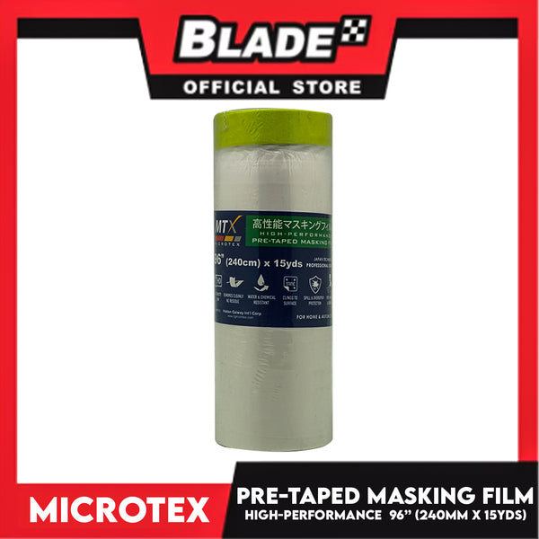"Microtex Pre-Taped Masking Film 96"" (240cm) x 15yds High-Performance for Home & Automotive"