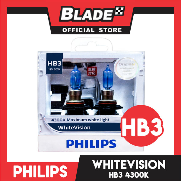 Philips WhiteVision Headlight Bulb 9005WHV HB3 12V 65W (Pair)