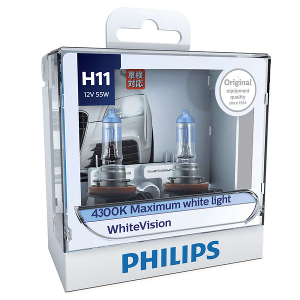 Philips WhiteVision Halogen 12362WHV H11 12V 55W (Pair)